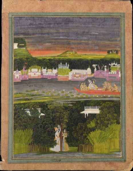 Radha and Krishna in the boat of love